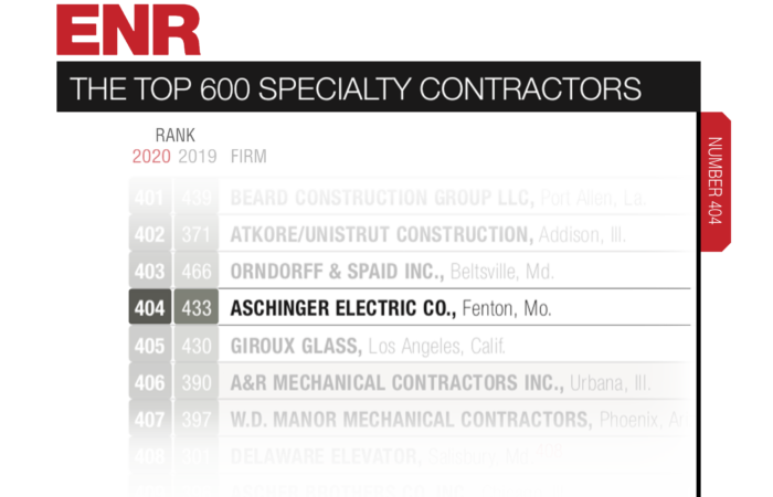 Aschinger named in the Top 600 by Engineering News-Record